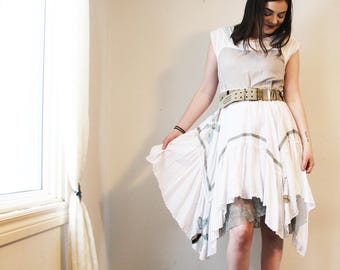 upcycled dress S - M upcycled clothing, handkerchief hem dress . beauvallon