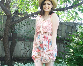 RESERVED upcycled clothing, romper shorts . broderick . S