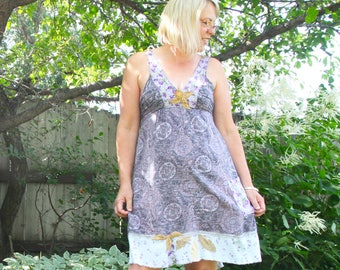 upcycled dress - S - upcycled clothing, a-line dress . verwood