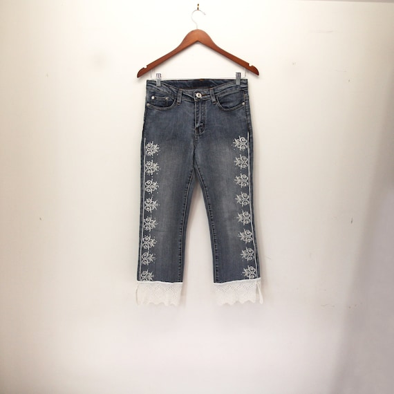 S upcycled clothing denim capris upcycled capri jeans downbound train