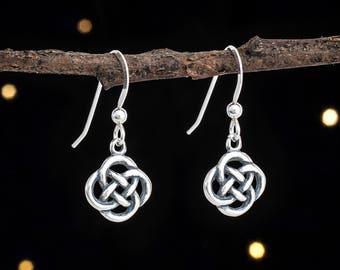 Sterling Silver Tiny Celtic Love Knot Earrings