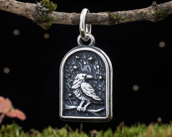 Sterling Silver Raven - VERY SMALL - (Charm Only or Necklace)