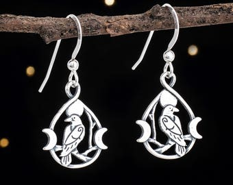 c88346148 Sterling Silver Raven and Triple Moon Earrings
