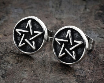 Sterling Silver Tiny Pentacle Post Earrings