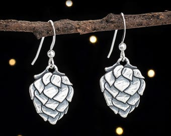 Sterling Silver Hop Flower Earrings - Beer Lover Gift