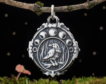 Sterling Silver Moon Phase Raven - (Pendant Only or Necklace)
