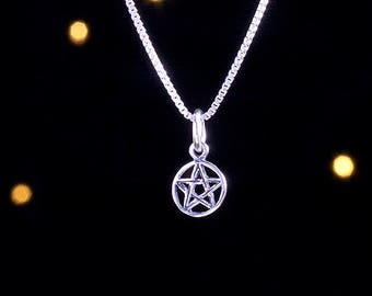 Sterling Silver Tiny Pentacle - (Charm Only or Necklace)