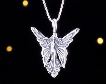 Sterling Silver Art Nouveau Fairy - (Pendant, or Necklace)