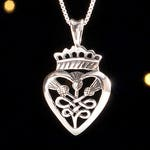 Sterling Silver Scottish Thistles and Luckenbooth - (Pendant or Necklace)