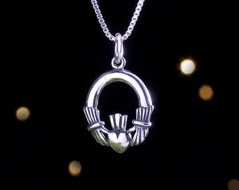 Sterling Silver Irish Claddagh - (Charm, Necklace, or Earrings)