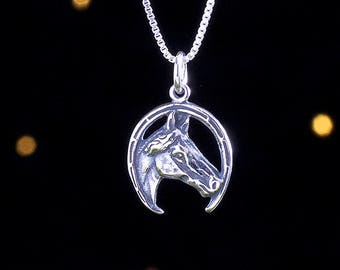 Sterling Silver Western Style Horse - (Charm, Necklace or Earrings)