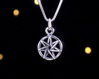 Sterling Silver Small Faerie Star - Heptagram - (Charm, Necklace, or Earrings)