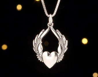 Sterling Silver Flying Heart Pendant - (Pendant Only or Necklace)