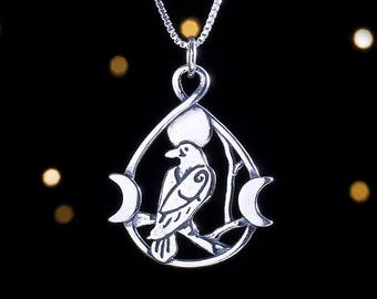 Raven Pendant Jewellery Raven Dagger Pendant Sterling Silver 925 Raven Rest Pendant Silver Raven and Sword Pendant