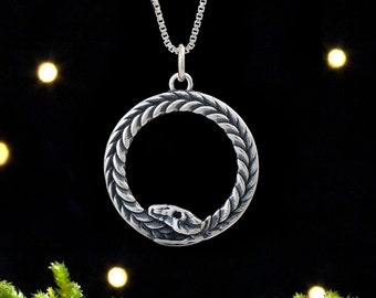 Sterling Silver Ouroboros, Infinity Serpent - Double Sided - (Pendant Only or Necklace)