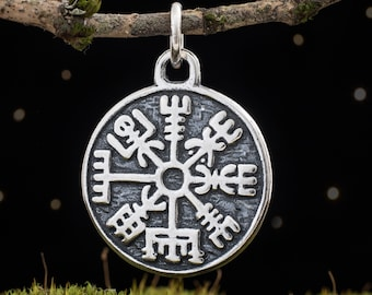 Sterling Silver Vegvisir, Viking Compass - Double Sided - (Pendant Only or Necklace)