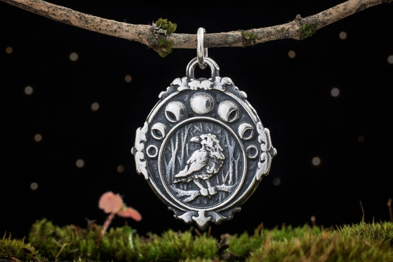 Solid .925 Sterling Silver Jewelry Moon Phase Celestial Jewelry Raven Moon Phase Necklace Moon Charm Necklace Raven Pendant with Chain