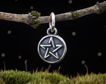 Sterling Silver Teeny Tiny Pentacle - SMALL - (Charm Only or Necklace)