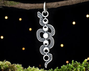 Sterling Silver Moon Phase Snake - Double Sided - (Charm Only or Necklace)
