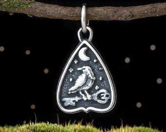 Sterling Silver Raven and Key Planchette - SMALL - (Charm Only or Necklace)