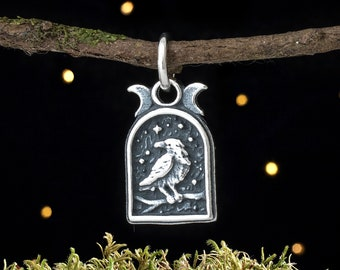 Sterling Silver Raven and Triple Moon - VERY SMALL - (Charm Only or Necklace)