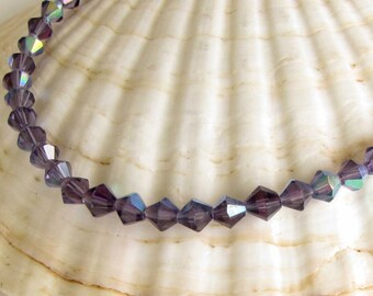 6mm Glass Bead Faceted Bicone Purple AB necklace bracelet jewelry supply grape