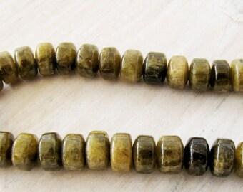Green Garnet Wheel Beads 8mm 10 beads Bead Supply Jewelry Beads Semi precious Jewelry Bead Supply Necklace Bead Garnet #185