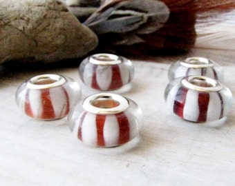 Red White Lampwork Glass Jewelry Design Craft Supply European Charm 5 beads LW 5