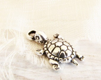 Turtle Charms Vintage Silver 5 Charms Ocean Sea Beach Necklace Bracelet Jewelry Supply Mixed Media #161