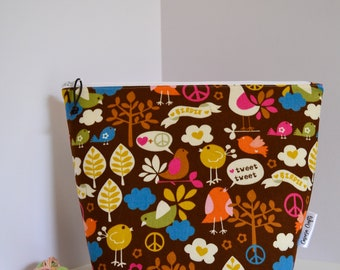 Large Bird Knitting and Crochet Project Bag, Yarn Storage Sack, Maker Gift, Last Minute Gift for Her Under 40, Yarn Craft Bag, Notions Pouch