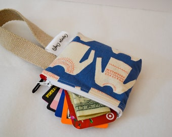 Wristlet Card Wallet, Knitting Themed Wallet Clutch, Card Pouch with Wrist Strap, Coin Purse, Cotton Wrist Wallet for Her, Gift Under 15
