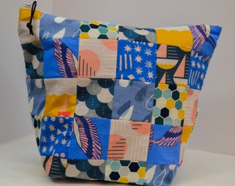 Colorful Patchwork Knitting Project Bag. Teen Girls Crochet Project Pouch. Yarn Storage for Her. Kids Toy Sack. Perfect Holiday Gift for Mom