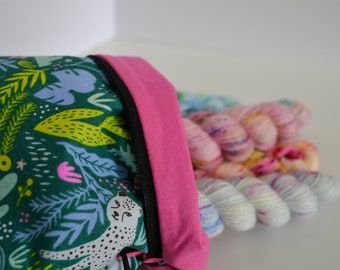 Cheetah Kitting Notions Pouch, Crochet Tool Bag, Maker Essentials Pouch, Christmas Gift For Her Under 20, Project Bag, Mask and Makeup Bag