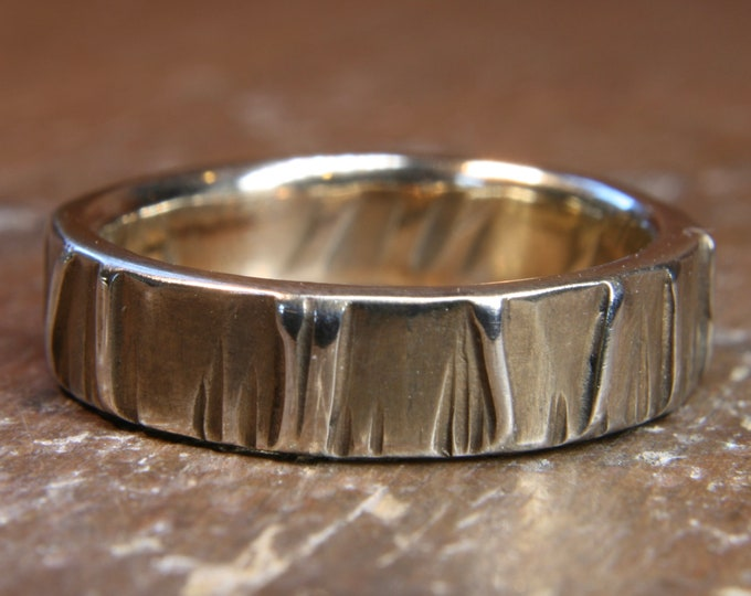 Eco Gothic wedding ring. 4mm wide. Hand made in the UK