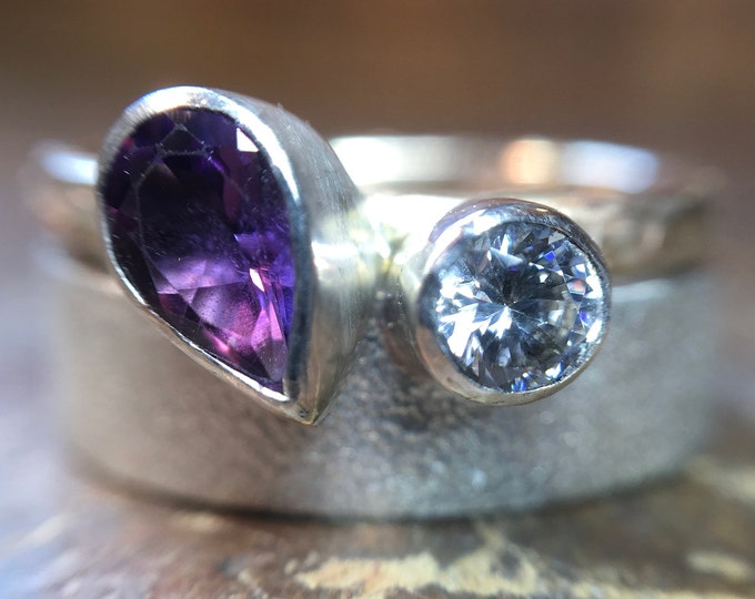 Amethyst and moissanite wedding and engagement ring set.  Recycled silver or gold. Unusual unique ethical textured hammered Made in England