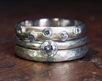 1/4ct Solitaire stacking wedding ring set.