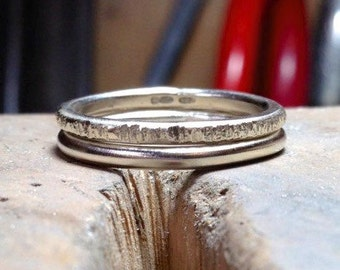 Stacking recycled silver wedding rings. Hand made in the UK. OOAK size L 1/2