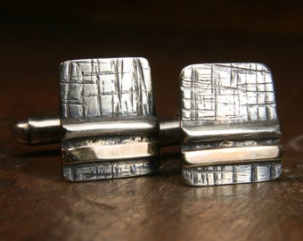Woodland inspired oxidised recycled silver and gold cufflinks (Design 1). Hand made in the UK.