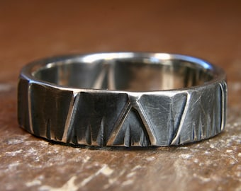 Eco Gothic wedding ring. 5mm wide. Hand made in the UK
