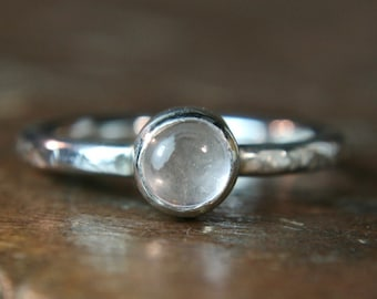 Recycled sterling silver textured ring, set with rose quartz,  Hand made, Size UK K 1/2