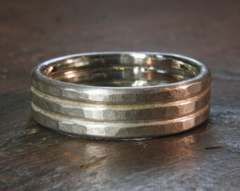 6mm double textured wedding ring.
