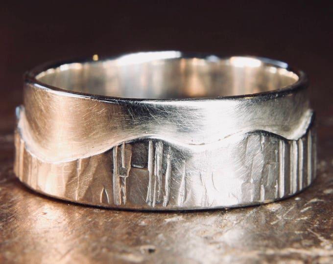 "Walk On The Hills ""Multi-Textured"" hammered man's wedding ring."