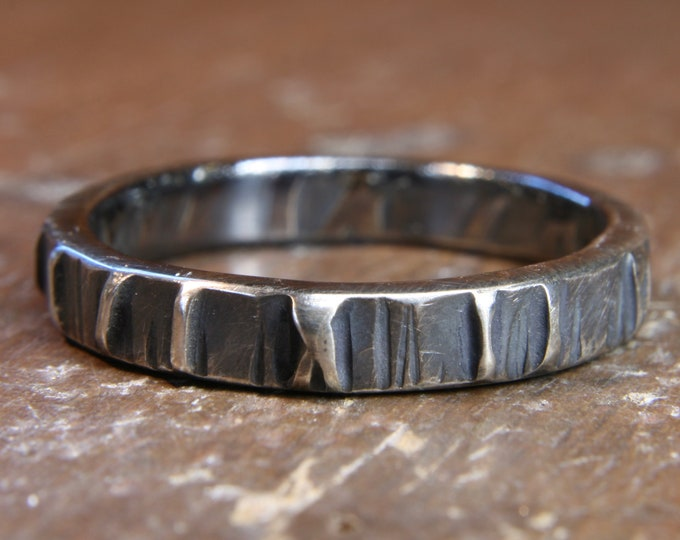 Eco Gothic 3mm wide wedding ring. Hand made in the UK
