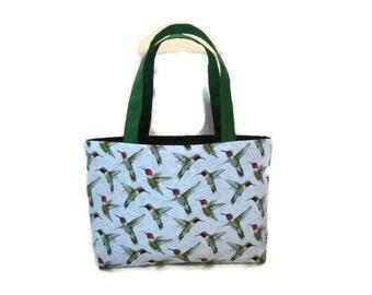 New Small Handmade Hummingbird Cactus SW Denim Tote Bag