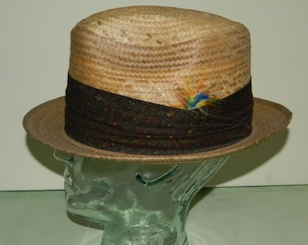 Size 7 60s Dobbs Wide Paisley Band Straw Fedora Hat Deadstock nos New Old  Stock Dobbs Fifth Avenue Summer Straw Hat Mad Men Men s Hat b847abe1af9e
