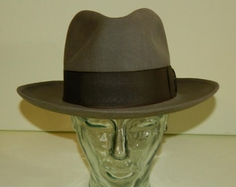 072d90ac5df42 Size 6-7 8 1940s Harmony Gas Champ Greige Stone Gray Brown Champ Fine Felt  Fedora Kasmir Finish Wide Center Dent Crown 2-5 8