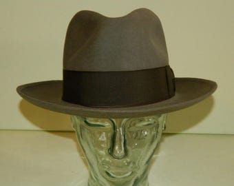 5a0ac6907e18f Size 6-7 8 1940s Harmony Gas Champ Greige Stone Gray Brown Champ Fine Felt  Fedora Kasmir Finish Wide Center Dent Crown 2-5 8