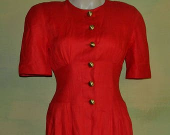 M Vintage 80s Red Wiggle Dress Wide Seamed Waist Etched Gold Buttons Ronnie Heller MJ DressWyogems