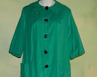 2522fd7166 L 50s Green Corduroy Swing Coat Dress House Coat Smoking Jacket Robe  Dressing Gown Big Pockets Button Front Peter Pan Collar