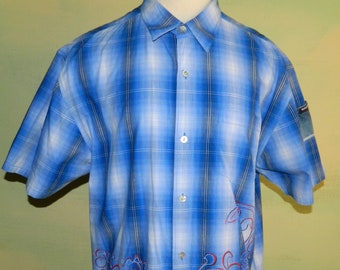ef3fbecb L Vintage 80s Bugle Boy Cotton Shirt Blue White Plaid with Floral Design  Tiny Pocket on the Sleeve Short Sleeve Summer Shirt Button Front
